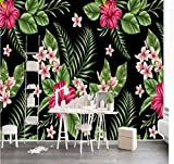 Zybnb Hd Pintura A Mano De Flores Wall Mural Wallpapers Con Fondo Negro Art Wall Decor Wall Papers Impresos En 3D Papel De Contacto