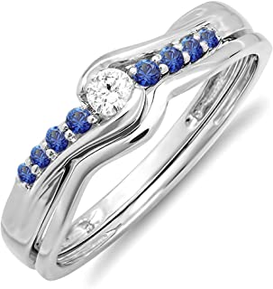 10K Round Blue Sapphire And White Diamond Ladies Bridal Promise Engagement Wedding Band Set, White Gold