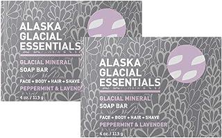 2-pack Alaska Glacial Essentials Glacial Mineral Soap Bar PEPPERMINT & LAVENDER Exfoliates Dead Skin Cells, Detoxifies Por...