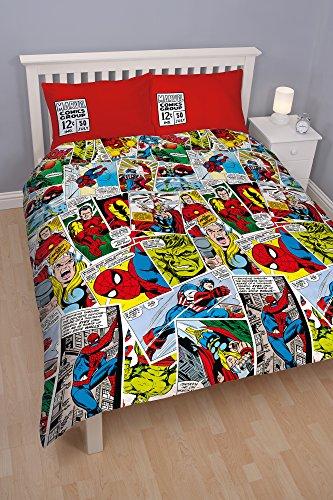 Marvel Comics–Juego de funda nórdica. Diseño reversible. Selección de tamaños de cama individual o doble. Tamaño: Individual Funda Nórdica 135cm x 200cm (54in x 79in), doble 200cm x 200cm (79x 79in in). Tamaño de la funda de almohada: 48cm x...