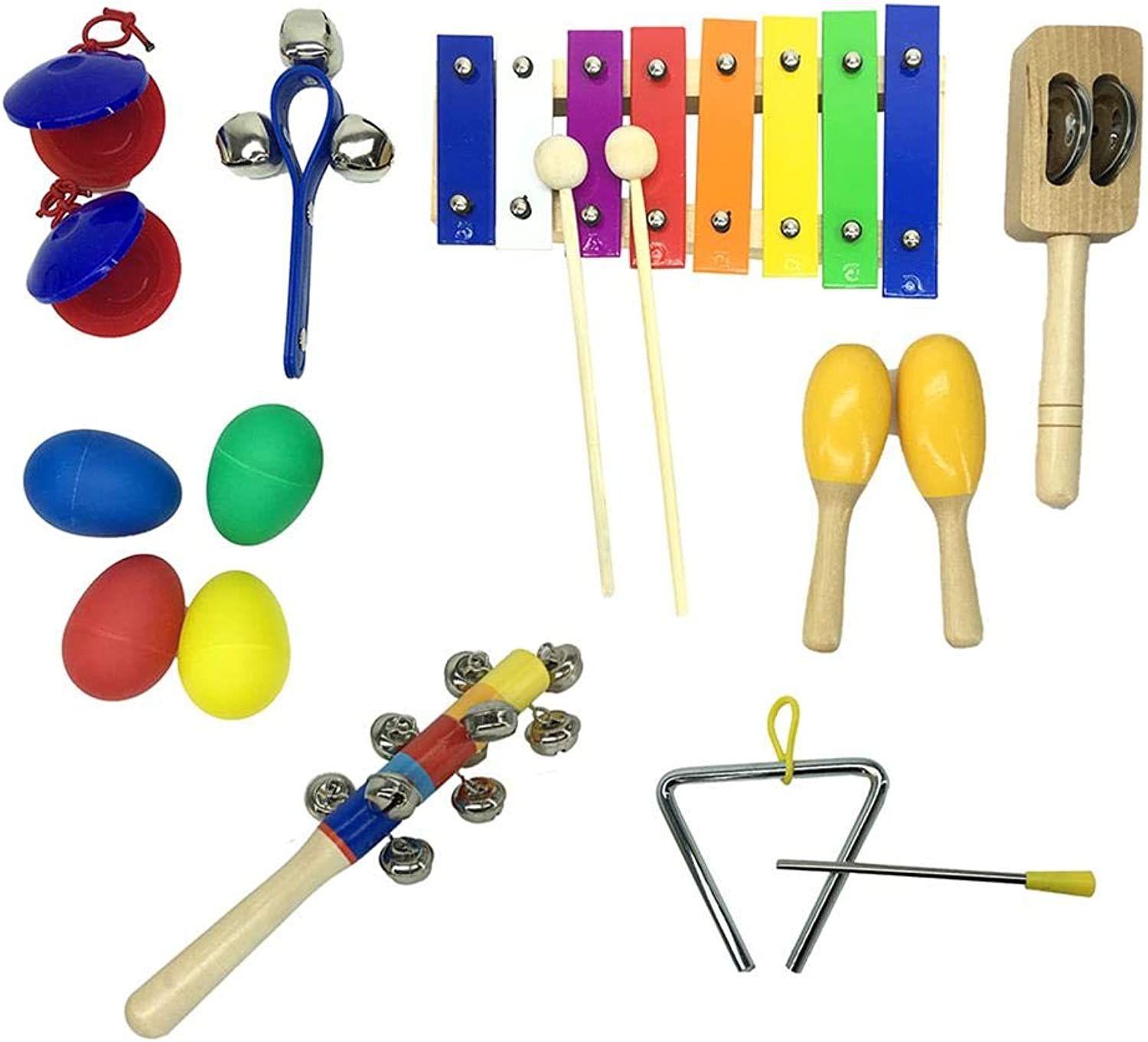 Percussion Instrument Toy, 10pcs Percussion Instruments Set Xylophone Hammer Kids Musical Toys Storage Backpack Included