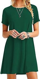 OMZIN - Vestido de mujer, de manga corta y cuello redondo, suelto, monocolor verde S