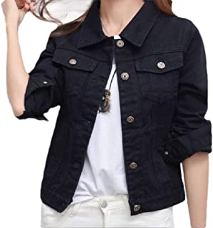 Mogogo Womens Button Thin Pure Color Long Sleeve Denim Jean Bomber Jacket