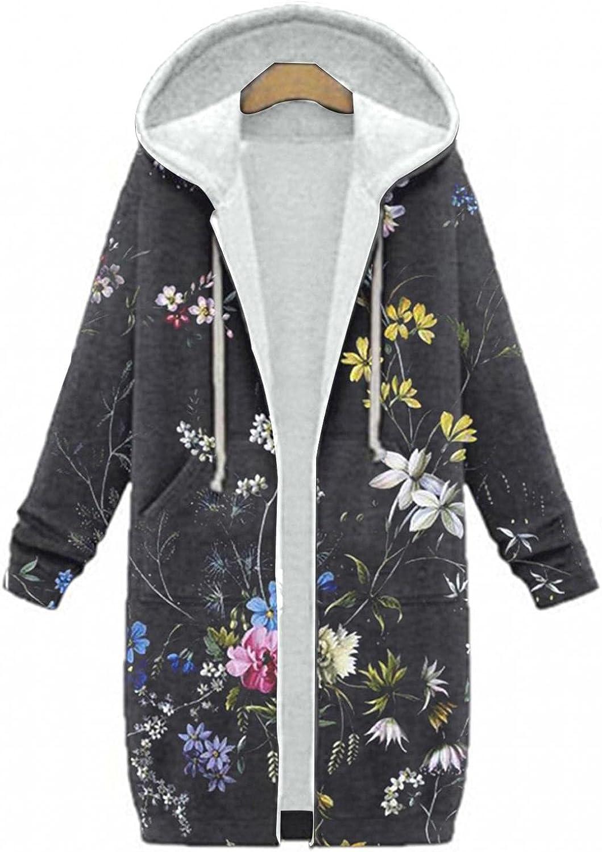 Womens Plus Size Winter Coat Warm Hoodie Floral Print Zipper Cotton Blend Cardigan Overcoat Long Outerwear Windbreaker