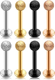 PiercingJ 8-10pcs 316L Stainless Steel 16G Labret Monroe Lip Rings Cartilage Helix Tragus Nose Piercing 3mm Matte Ball 8mm Straight Bar Barbell Body Piercing Jewelry