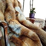 FOX FASHION Pelz Decke Teppich aus echtem Rotfuchs Fell Tagesdecke
