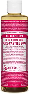 Dr. Bronner's - Pure-Castile Liquid Soap (Rose) - Made with Organic Oils, 18-in-1 Uses: Face, Body, Hair, Laundry, Pets & ...