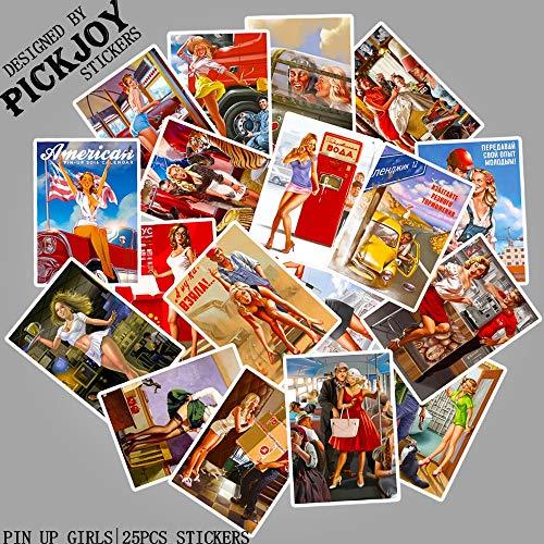 BLOUR 25 PCS/Pack Seconde Guerre Mondiale Pin Up Filles Autocollants pour Bar Bagages Skateboard Téléphone Ordinateur Portable Enfants Jouet Autocollants Stickers
