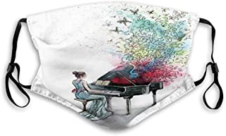 Grand Piano Music Musician with Butterflies Ornamental Pianist Swirls Vintage Style Reusable Face Mask Balaclava Outdoor N...
