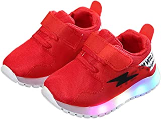 Hopscotch Boys and Girls Mesh Solid Applique Fixed Lace Sneaker LED Shoes in Red Color