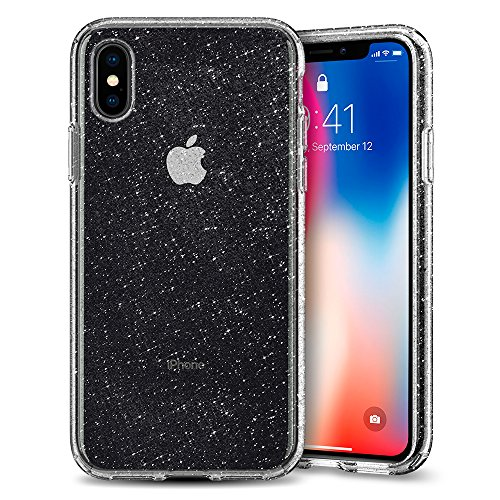 Spigen Liquid Crystal Glitter Hülle Kompatibel mit iPhone XS und Kompatibel mit iPhone X -Crystal Quartz