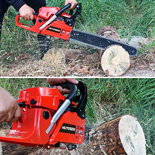 HUYOSEN Gas Power Chain Saws Red Black Corded 54.6CC 2 Cycle Gas Powered Chainsaw Guide bar Size 18 inchs 0.325inchs 72DL Chain Guide Bar