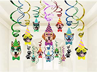 Dog Faces Birthday Swirl Hanging - Dog Birthday Theme Party Bunting Decoration Party Supplies 30Ct