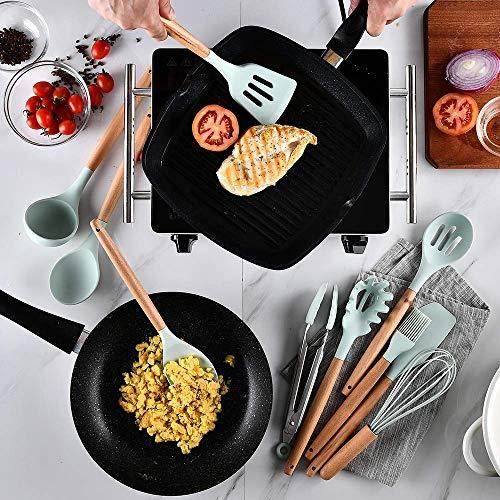 UniForU Lot de 11 ustensiles de cuisine en silicone avec poignées en bois naturel antiadhésif, spatule, cuillère, passoire, outil de cuisine - 4