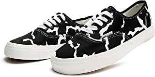 Adokoo Women's Canvas Sneakers Cow Print Cattle Skin Shoes(Cow Print,US10
