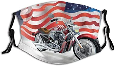 HARXISE Harley Motorbike and US Flag Sports Automobile Davidson Dust Washable Reusable Filter and Reusable Mouth Warm Windpro