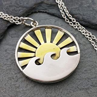 Waves with Bronze Sun Rays Charm Necklace - 925 Sterling Silver, 18
