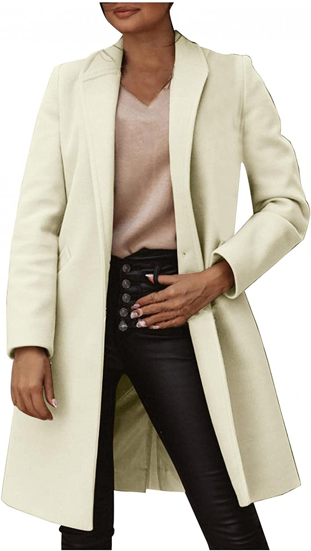 Misaky Women's Lapel Parka Overcoat Winter Faux Wool Coat Slim Trench Jacket Overcoat Outwear