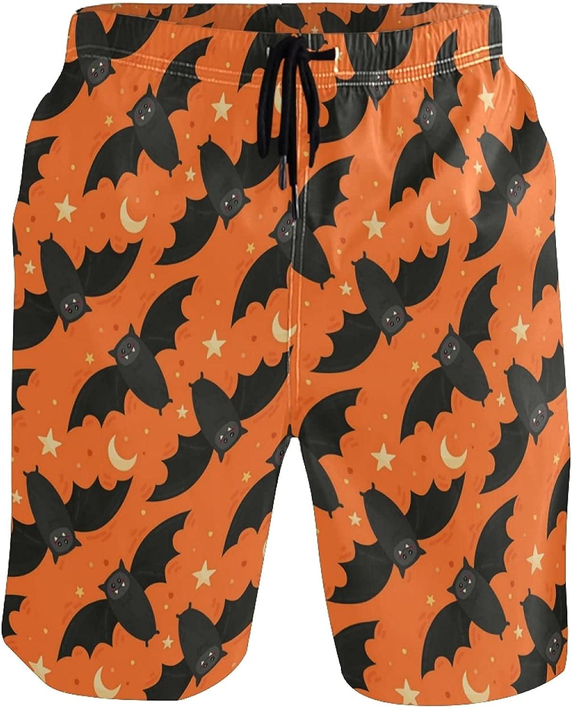 Sinestour Mens Swim Trunks Bat Halloween Star Moon Summer Boardshorts Beach Shorts