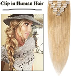 24 inch Clip in Hair Extensions Natural Blonde Remy Human Hair for Women 8pcs 18 Clips Full Head Soft Straight Hair(24