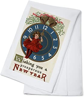 Wishing you a Prosperous New Year - Girl in Red Sitting on Clock - Vintage Holiday Art (100% Cotton Kitchen Towel)