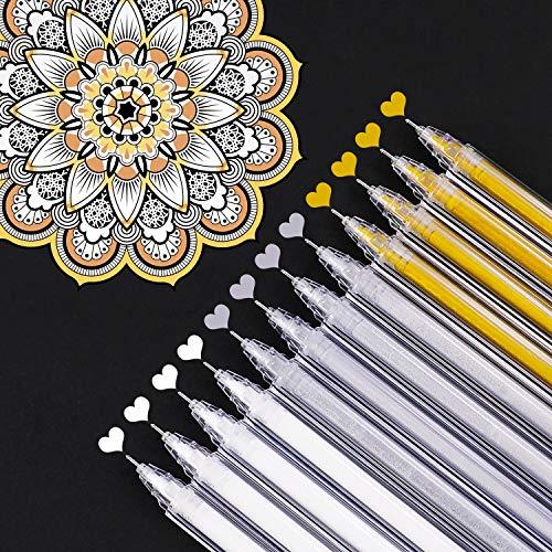 White Gold Silver Gel Pens, 0.5 mm Extra Fine Point Pens Gel Ink Pens for Black Paper Drawing, Sketching, Illustration, Adult Coloring, Bullet Journaling, Set of 12