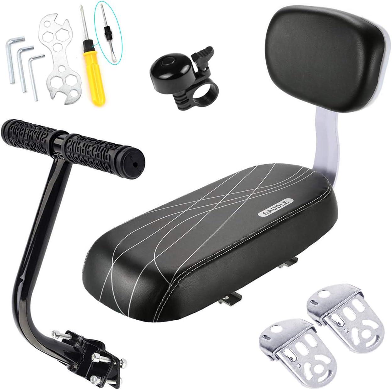 CenterZ Bike Rear Seat Cushion with Safety Backrest + Backseat Armrest Handrail + Foldable Hidden Bicycle Footrests + Handlebar Bell (Universal Cycling Kit + Installing Repairing Tools Set Bonus)