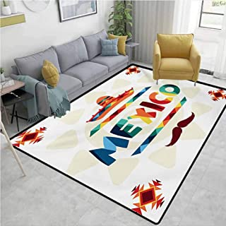Mexican Home Decor Area Rug Mexico Traditional Aztec Motifs and Sombrero Straw Hat and Moustache Graphic Print Mildew Proof W78 x L106 Multicolor