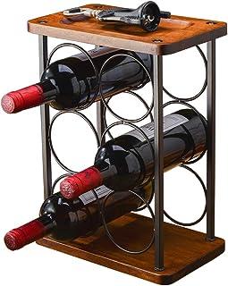 Sponsored Ad - BOOKZON Countertop Wine Rack Wood, Tabletop Wine Bottle Holders Display Racks, Rustic Freestanding Wine Bot...