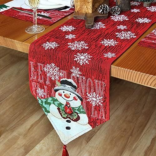 fengman123 Camino de Mesa muñeco de Nieve, Camino de Mesa de Navidad Bordado, Mantel Festivo de Navidad para decoración de Navidad, decoración del hogar, Mantel Decorativo(183 X 33 cm)