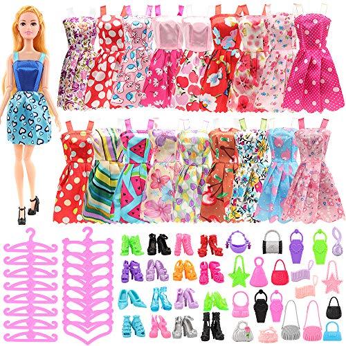 Miunana 105 ropa zapatos ropa ropa accesorios para muñecas Barbie = 20 vestidos + 50 zapatos + 20 perchas + 15 bolsos de mano para muñecas de niña de 11,5 pulgadas