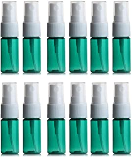 10ml 0.33 oz Fine Mist Spray Bottles with Sprayer Plastic Travel Atomizer for Perfume Moisturizer Cleaning Water Empty Refillable,Green Pack of 12