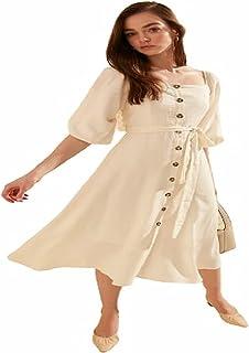 Trendowel Women's Dress with Belt and Button