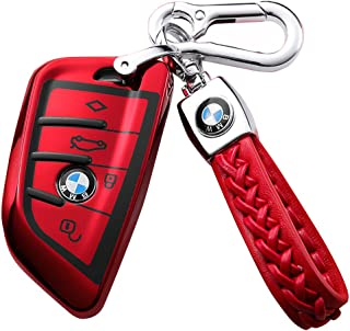 121Fruit Way for BMW Car Key Fob Cover,Blade Shape Soft TPU Key Case Shell Pouch for BMW New BMW X1 X3 X5 X6,BMW Series 1 2 5 7 Keyless Entry BMW Key Cover_Red