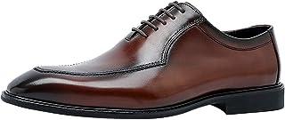 Zapatos Oxford Hombre de Cuero con Cordones Casual Business Zapatos de Vestir Derby Negro Marrón