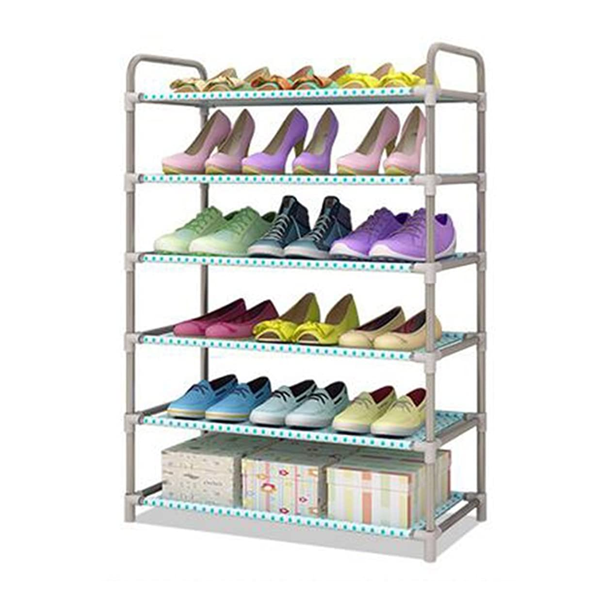 オリエント叱るリスHAPzfsp 靴箱 6層金属靴ラック棚折りたたみ式スタッカブル収納マネージャ18組の靴バルコニー入り口コーナー入り口 廊下、キャビネット、玄関、クローク、バスルーム靴ラック廊下、クローゼット、玄関、クローク、バスルーム