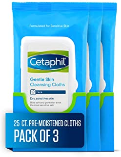 Cetaphil Gentle Skin Cleansing Cloths for Dry, Sensitive Skin, Face Cleansing Wipes, 25 ct. (Pack of 3)