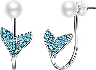 Silver Stud Earrings for Women, Mermaid Tail Earrings 925 Sterling Silver, Hypoallergenic Drop Earrings, Dangle Earrings Birthday Gift
