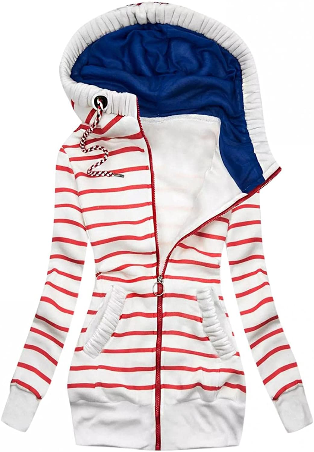 UOCUFY Hoodies for Women Pullover,Women Drawstring Sweatshirts Striped Printed Zipper Long Sleeve Pullover Oversized Hooded