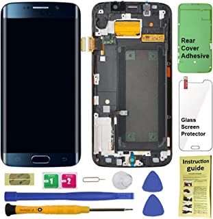 Display Touch Screen (AMOLED) Digitizer Assembly with Frame for Samsung Galaxy S6 Edge (5.1 inch) AT&T (G925A) / T-Mobile (G925T) / Global (G925F) (for Phone Repair) (Black Sapphire)