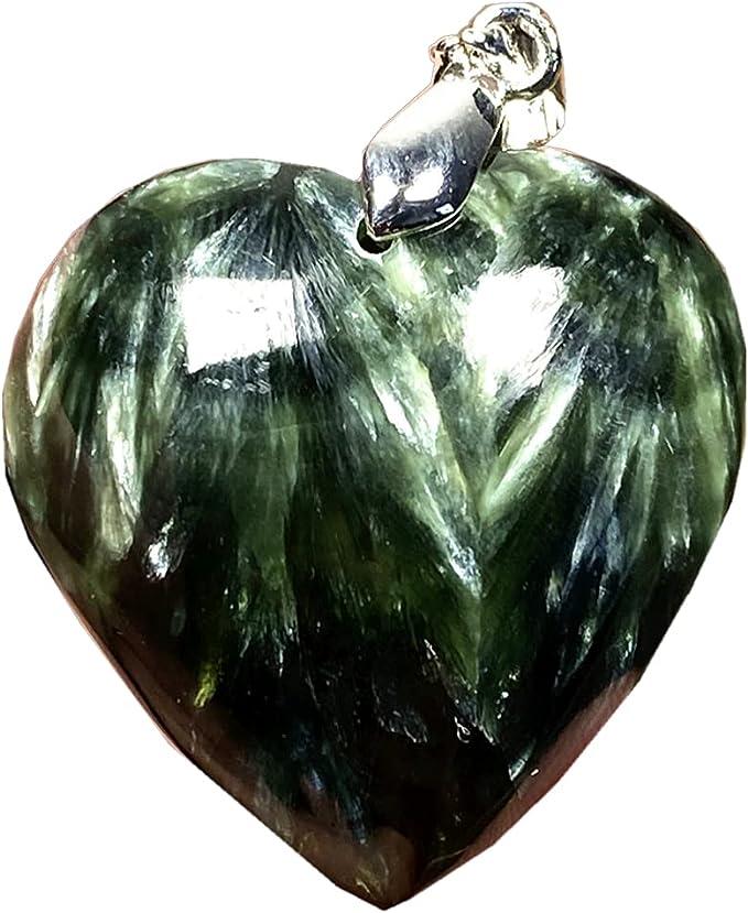 Natural Serafinita Colgante Corazón Verde Serafinita