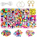 JOICEE 300PCS Fruit Smiley Handmade Polymer Clay Beads 15 Styles Flower Letter Beads Soft Beads for...