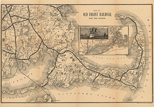 Historic Pictoric Map - Old Colony Railroad Maps, Cape Cod 1888 Transit Cartography - Vintage Poster Art Reproduction - 24in x 18in