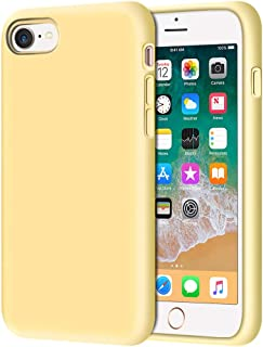 "Anuck iPhone SE 2020 Case, iPhone 8 Case, Non-Slip Liquid Silicone Gel Rubber Bumper Case Soft Microfiber Lining Hard Shell Shockproof Full-Body Protective Case Cover for iPhone 7/8/SE 4.7"" - Yellow"