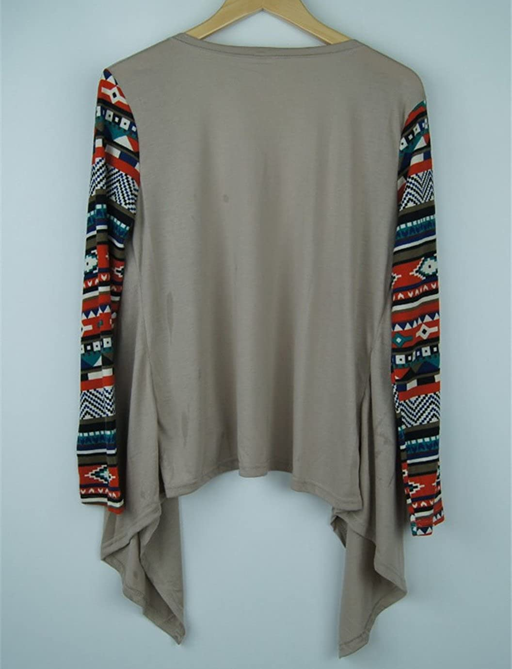 Damen Strickjacke Cardigan Langarmshirt Geometrische Irregular Lose Strickmantel Strick Loose Strickjacke Kimono Pullover Mantel Outwear Tops Khaki
