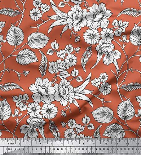 Soimoi mit Blumenmuster 58 Zoll breit Baumwollgewebe Schneiderei Material 60 GSM durch das Messgerät - Pfirsich orange