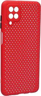 جراب خلفي سيليكون مخرم لسامسونج جلاكسي ايه 12 - احمر
