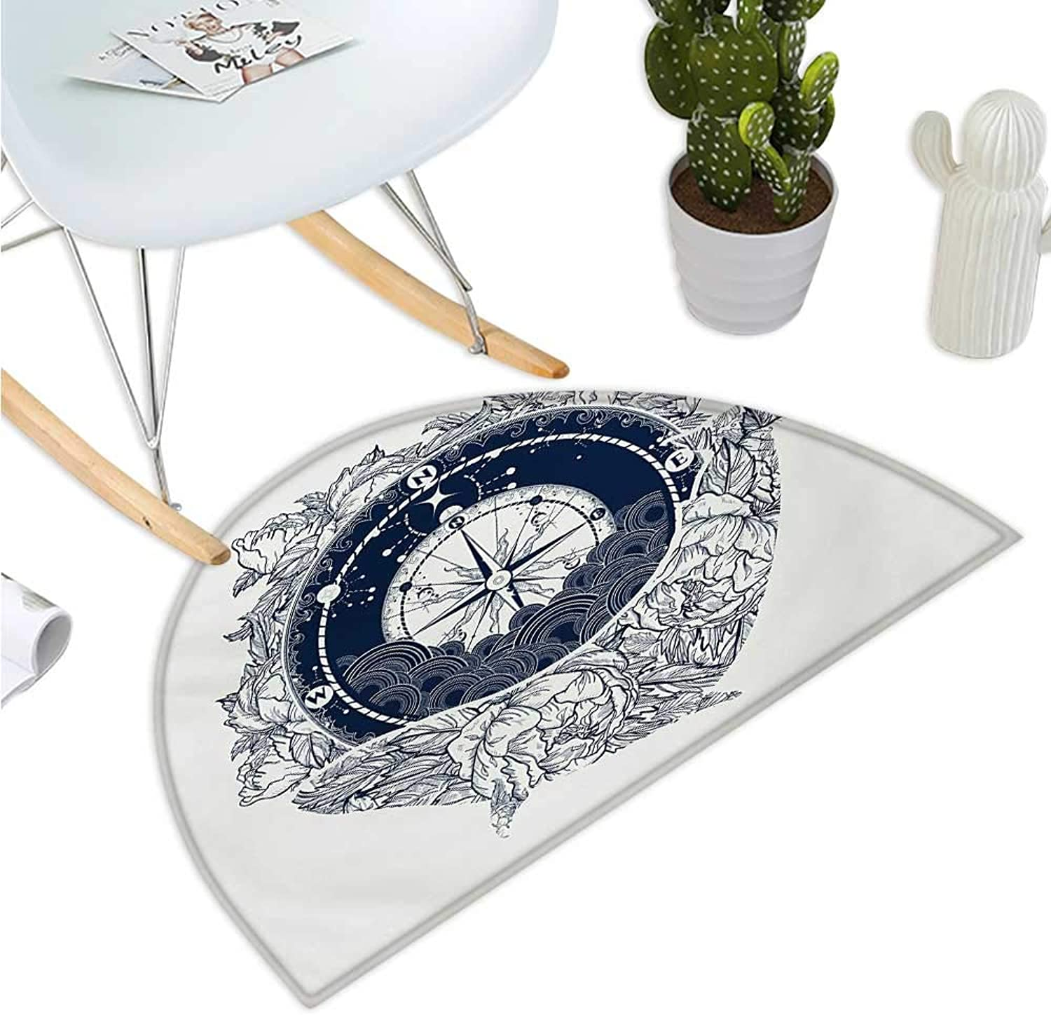 Adventure Semicircular Cushion Antique Marine Compass and Floral Whale Figure Mystical Victorian Vintage Entry Door Mat H 35.4  xD 53.1  Dark bluee White