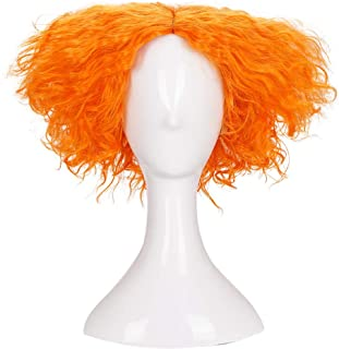 Morvally Short Messy Curly Orange Wigs Unisex Heat Resistant Hair for Cosplay Costume Holloween Party