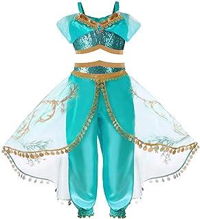 comprar comparacion HOOPERT Niña Aladdin Princesa Jasmine Disfraz Tops Pantalones Manga Corta Traje Cosplay Actuación Carnaval Navidad Regalo ...